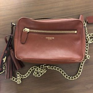 Brown Leather Coach Crossbody with Gold Chain
